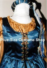 plus size renaissance satin court gown princess queen dress halloween costume with blue overdress and black skirt and gold peasant shirt and headpiece