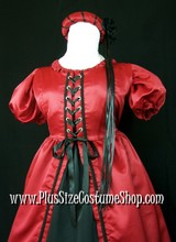 plus size renaissance satin court gown pirate princess queen dress halloween costume with red overdress and shirt and black skirt and headpiece