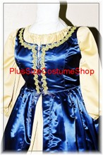 plus size renaissance satin court gown princess queen dress halloween costume with blue overdress and gold peasant shirt and skirt