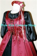 plus size renaissance satin court gown princess queen dress halloween costume with cranberry red overdress and black peasant shirt and skirt with headpiece