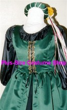 plus size renaissance satin court gown dress queen princess halloween costume with green overdress and black skirt and peasant shirt with headpiece