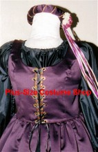 plus size renaissance satin court gown dress queen princess halloween costume with plum purple overdress and black skirt and peasant shirt with headpiece