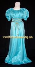 renaissance plus size nile blue satin chemise short sleeves gown dress Grecian Goddess Roman Woman halloween costume