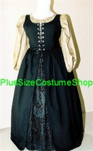 plus size renaissance irish overdress gown dress halloween costume with gold peasant shirt and black overdress and black and gold scroll skirt