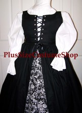 plus size renaissance irish overdress gown dress halloween costume with white peasant shirt and black overdress and black and white scroll floral skirt