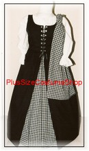 plus size renaissance scottish lass irish tartan plaid overdress gown dress halloween costume with black and white plaid skirt and overdress and white peasant shirt