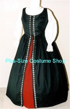 plus size renaissance irish overdress gown dress halloween costume with red skirt and black overdress and white peasant shirt with fleur-de-lis silver trim
