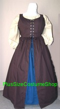 plus size renaissance irish package gown dress halloween costume with cornflower blue skirt and brown overdress and beige peasant shirt