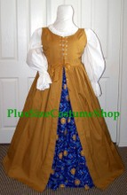 plus size renaissance irish package gown dress gypsy fortune teller halloween costume with blue celestial astrological astronomy skirt and gold overdress and white peasant shirt