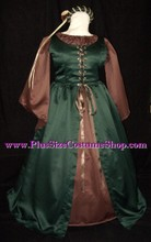 plus size renaissance satin irish overdress gown dress halloween costume with brown satin shirt and skirt and hunter green overdress maid marian robin hood