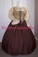 plus size renaissance limited edition package gown dress halloween costume with brown skirt and brown plaid bodice corset and tan peasant shirt