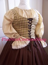 plus size renaissance limited edition package gown dress halloween costume with brown skirt and brown plaid bodice corset and tan peasant shirt up-close bodice view