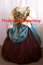 plus size renaissance limited edition package gown dress halloween costume with patterned brown roses floral bodice corset and tan peasant shirt and brown and seafoam skirts