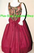 plus size renaissance limited edition package gown dress halloween costume with burgundy skirt and floral bodice corset and white peasant shirt