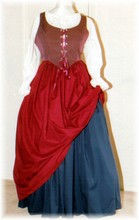 plus size renaissance limited edition package gown dress halloween costume with claret red and navy blue skirts and check bodice corset and white peasant shirt