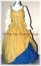 plus size renaissance limited edition package gown dress halloween costume with patterned butter yellow skirt and bodice corset with small blue crosses cornflower blue skirt and white peasant shirt