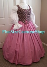plus size renaissance limited edition package gown dress halloween costume with patterned pink bodice corset and dusty rose pink skirt and white peasant shirt