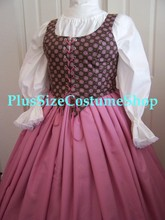 plus size renaissance limited edition package gown dress halloween costume with patterned pink bodice corset and dusty rose pink skirt and white peasant shirt up-close view of bodice