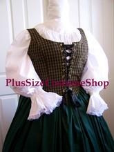plus size renaissance limited edition package gown dress halloween costume with patterned plaid bodice corset and hunter green skirt and white peasant shirt up-close view of bodice