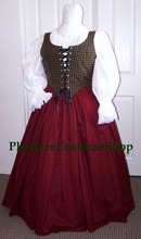 plus size renaissance limited edition package gown dress halloween costume with patterned plaid bodice corset and burgundy skirt and white peasant shirt