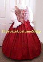 plus size renaissance limited edition package gown dress halloween costume with patterned red floral bodice corset and red skirt and white peasant shirt