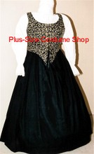 plus size renaissance limited edition package gown dress halloween costume with patterned gold and black scroll bodice corset and black skirt and white peasant shirt