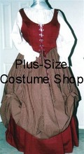plus size renaissance limited edition package gown dress halloween costume with burgundy bodice corset skirt and patterned striped burgundy skirt and white peasant shirt