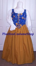 plus size renaissance limited edition package gown dress halloween costume with patterned blue astronomy astrological suns moon and stars celestial bodice corset and gold skirt and white peasant shirt
