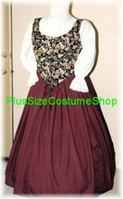 plus size renaissance limited edition package gown dress halloween costume with patterned floral bodice corset and wine merlot skirt and white peasant shirt