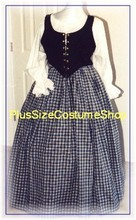 plus size renaissance scottish lass irish tartan plaid package gown dress halloween costume with blue skirt and black bodice corset and white peasant shirt