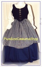 plus size renaissance scottish lass irish tartan plaid package gown dress halloween costume with blue skirts and black bodice corset and white peasant shirt