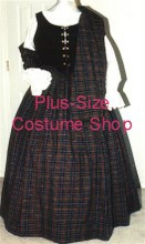 plus size renaissance scottish lass irish tartan plaid package gown dress halloween costume with burgundy and hunter plaid skirt and black bodice corset and white peasant shirt