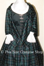 plus size renaissance scottish lass irish tartan plaid package gown dress halloween costume with hunter green plaid skirt and shawl and black bodice corset and white peasant shirt