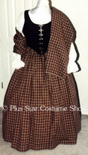 plus size renaissance scottish lass irish tartan plaid package gown dress halloween costume with beige plaid skirt and shawl and black bodice corset and white peasant shirt