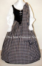 plus size renaissance scottish lass irish tartan plaid package gown dress halloween costume with navy blue plaid skirt and shawl and black bodice corset and white peasant shirt
