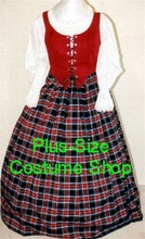 plus size renaissance scottish lass irish tartan plaid package gown dress halloween costume with red plaid skirt and red bodice corset and white peasant shirt