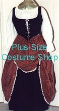 plus size renaissance scottish lass irish tartan plaid package gown dress halloween costume with stewart red plaid skirt trimmed in white lace and black underskirt and black bodice corset and white peasant shirt