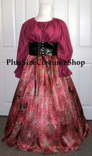 renaissance plus size gown dress mauve pink waist cincher pvc vinyl gypsy halloween costume