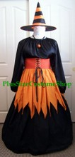 renaissance plus size gown dress candy corn witch orange covered waist cincher halloween costume