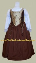 thumbnail plus size brown and tan deluxe renaissance gown dress package