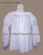 thumbnail renaissance plus size peasant shirt in white cotton