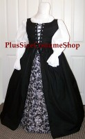 thumbnail renaissance plus size deluxe irish overdress package dress gown in black with black and white floral scroll patterned cotton skirt