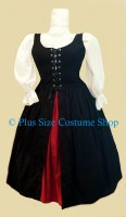 thumbnail renaissance plus size basic irish overdress package dress gown in black with red claret solid cotton skirt