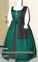 thumbnail renaissance plus size irish overdress package dress gown in hunter green with plaid tartan skirt and shawl