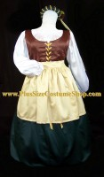 thumbnail renaissance plus size satin wench gown dress package costume with apron and circlet headpiece