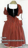 thumbnail renaissance plus size scottish lass tartan plaid gown dress package in red stewart with shawl